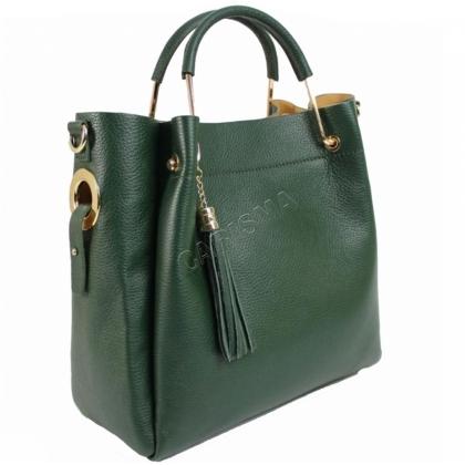 Дамска чанта от естествена кожа в зелено 11533-2