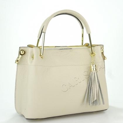Дамска чанта от естествена кожа в бежово 11534L-1