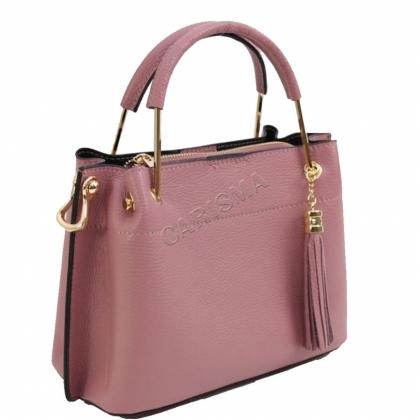 Дамска чанта от естествена кожа в тъмнорозово 11534L-2