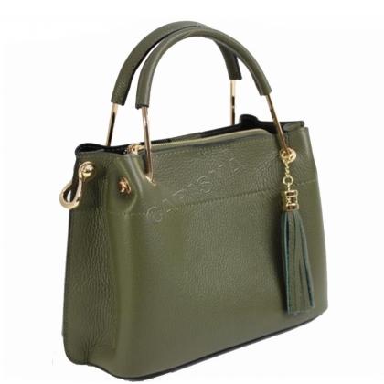 Дамска чанта от естествена кожа в зелено 11534L-3