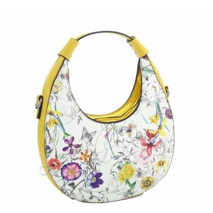 Жълта дамска чанта с флорални мотиви 2031L-3