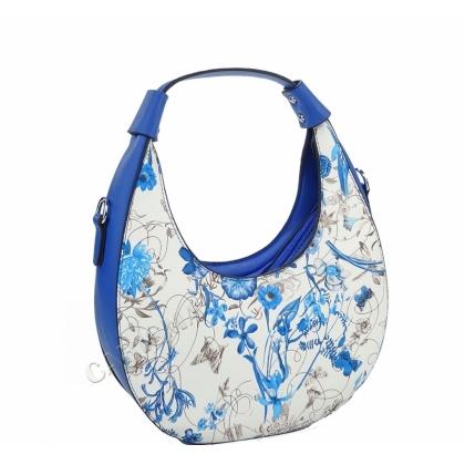 Дамска чанта с флорални мотиви, Кръгла форма, 2031L-5