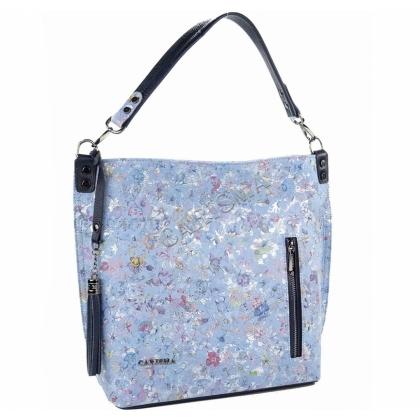 Синя дамска чанта от естествена кожа 1345T-1