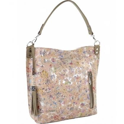 Дамска чанта от естествена кожа, Розова, 1345T-2