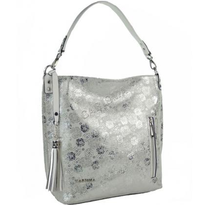 Бяла чанта от естествена кожа, Бяла със сребро, 1345T-4