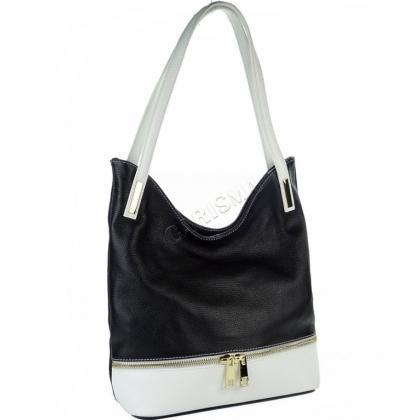 Дамска кожена чанта в два цвята