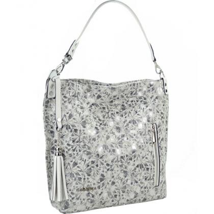 Дамска чанта от естествена кожа, Сребърно и бяло, 1345T-8