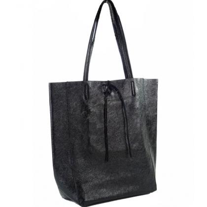 Дамска кожена чанта в перлено черен цвят 1666-4