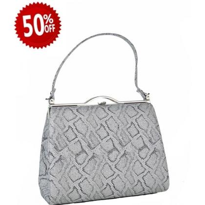 Официална дамска чанта с змийски принт 1329T-4