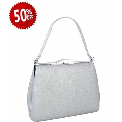 Официална дамска чанта в сребрист цвят 1329T-1