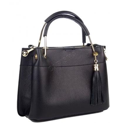 Дамска чанта от естествена кожа в черно 11534L-5