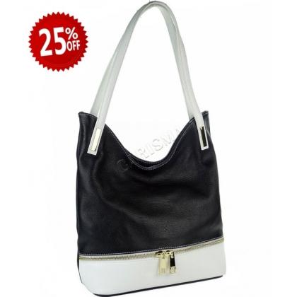 Дамска кожена чанта в два цвята 1075-3