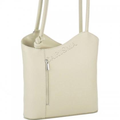 Чанта-раница от естествена кожа в ванилия, 100118-9