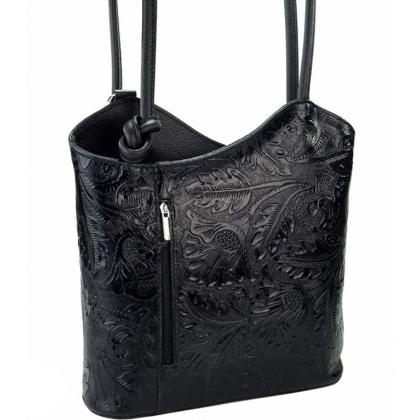 Дамска кожена чанта-раница с флорална щампа в черно L100118-4