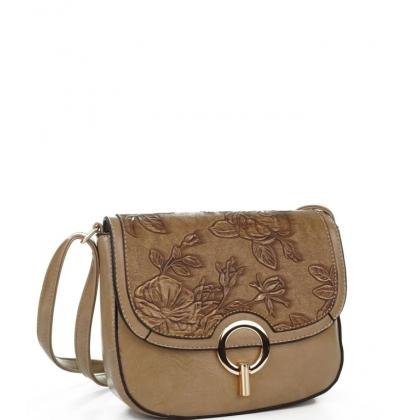 Малка чанта от еко кожа с капак в цвят каки