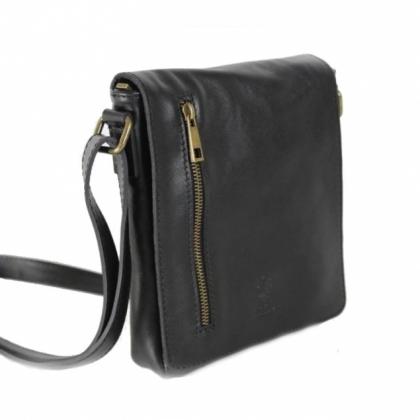 Черна кожена чанта през рамо, 1099LV