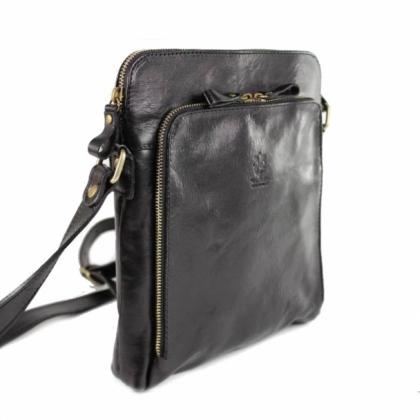 Черна мъжка чанта за през рамо, 13364LV