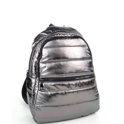 Дамска раница от найлон в цвят старо сребро T2913-1