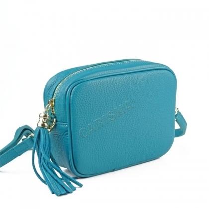 Дамска кожена чанта цвят тюркоаз