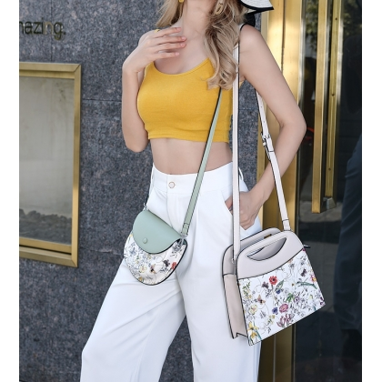 Малка дамска чанта, Пастелно зелено и цветя, 7883-3