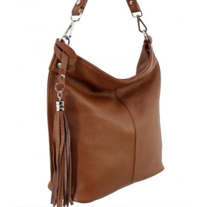 Кафява дамска чанта тип торба, Коняк, 11923