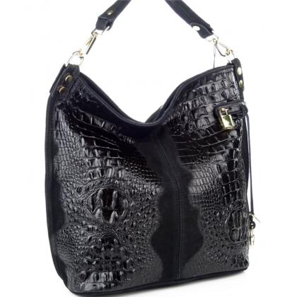 Чанта тип торба от естествена кожа в черно 11963-3