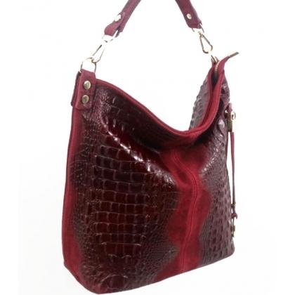 Дамска чанта тип торба от естествена кожа 11963-2