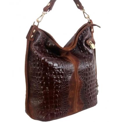 Дамска кожена торба с кроко щампа в цвят шиоколад 11963