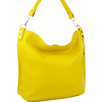 Кожена чанта тип торба от естествена кожа