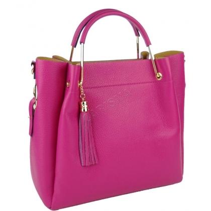 Кожена чанта с органайзер в цвят фуксия