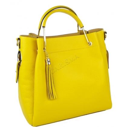 Чанта от естествена кожа в жълт цвят 11533-3