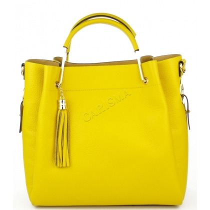 Дамска чанта от естествена кожа в жълт цвят