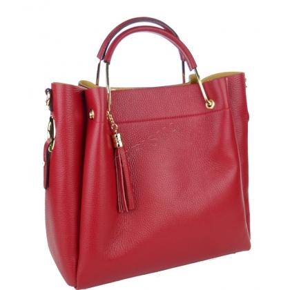 Чанта от естествена кожа в тъмночервен цвят 11533-2