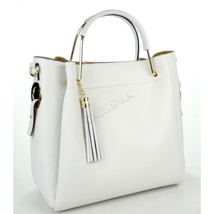Чанта от естествена кожа в бял цвят 11533-5