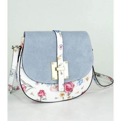 Малка кожена чанта за през рамо на цветя