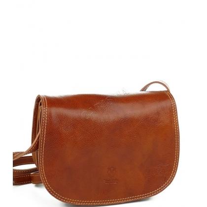 Среден размер дамска чанта от естествена кожа, Коняк, 135033-4