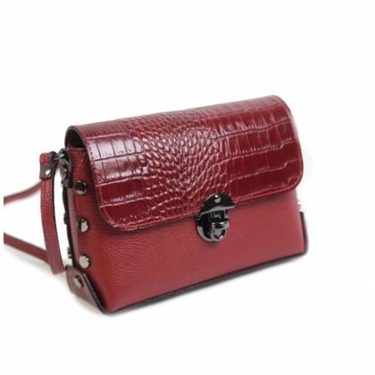 Червена малка чанта от естествена кожа, 135013-1