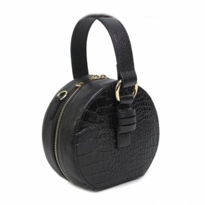 Малка кожена чанта в черно, Кръгла, 10493
