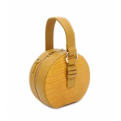 Малка кожена чанта в жълто, Кръгла, 10493-1
