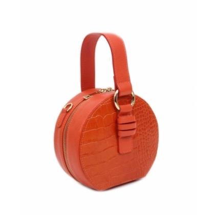 Малка кожена чантичка в оранжево, Кръгла, 10493-2