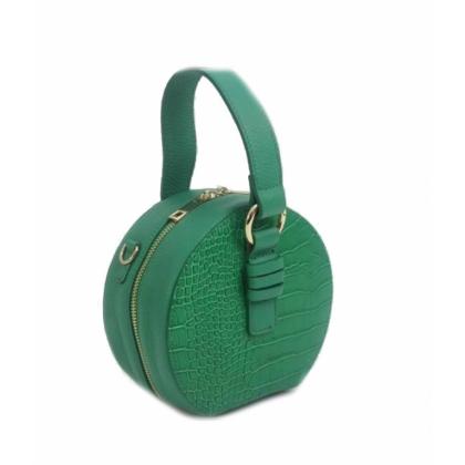 Малка кожена чанта в зелено, Кръгла, 10493-3