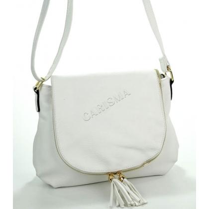 Дамска чанта, среден размер от еко кожа в бял цвят