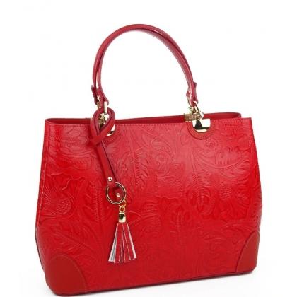 Дамска чанта от естествена кожа в червен цвят с флорална щампа