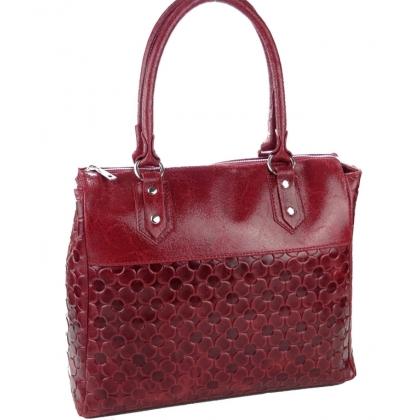 Дамска чанта от естествена кожа в цвят бордо 11883