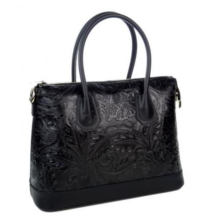 Дамска чанта от естествена кожа с релефна щампа, черна 11553