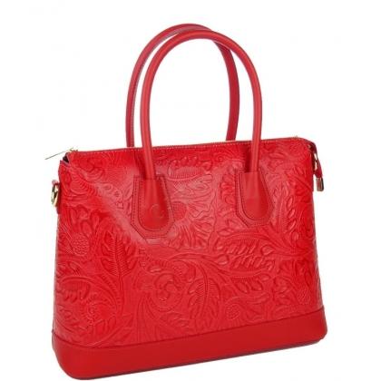 Дамска чанта от естествена кожа с релефна щампа, червена 11553-1