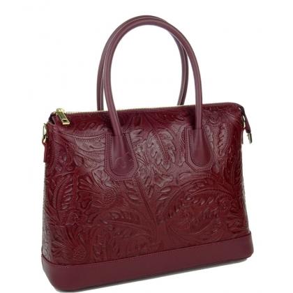 Дамска чанта от естествена кожа с релефна щампа, бордо 11553-2