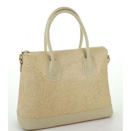 Дамска чанта от естествена кожа с релефна щампа, бежова 1155-3