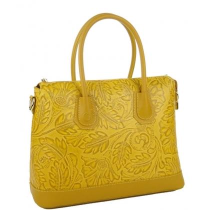 Дамска чанта от естествена кожа с релефна щампа, горчица 1155-4