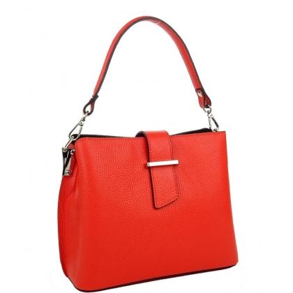 Дамска чанта от естествена кожа в цвят корал 18253-1